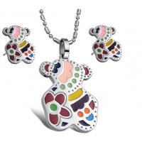 OEM Eco friendly Cute Bear Shiny finished Color Enamel Stainless Steel Jewelry Sets for kids