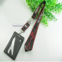 China Premium jacquard woven neck lanyard with ID pouch, polyester woven jacquard badge lanayrds on sale