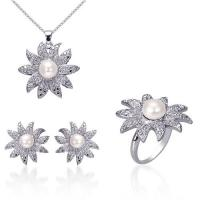 Best Fashionable Bright White CZ Pendant & earring stainless steel Imitation Jewelry Sets for Anniversary wholesale