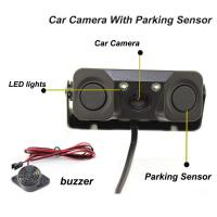 Best Reverse camere New 2 in 1 Sound Alarm CCD HD Car Reverse Backup Camera Parking Radar System guide line with data wholesale