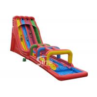 Quality 8m high rainbow triple lane giant inflatable water slide for adults outdoor use for sale
