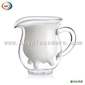 China Glass double wall milk mug with handle on sale