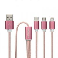 Best Rose Gold Usb cable, lightning Micro Type C 3-in-1 Nylon Braided USB Fast Charging Cable Cord wholesale