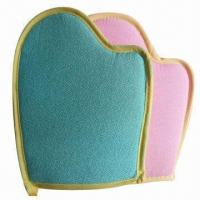 Quality Bath gloves, made of wood pulp fiber/sponge, packed in OPP bag, customized colors are accepted for sale