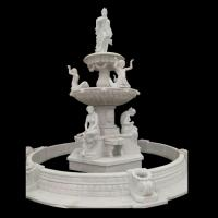 Quality Garden Freestanding marble stone fountain with pool, china marble sculpture supplier for sale