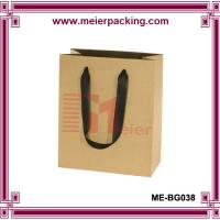 Buy Kraft Paper Bags with Flat Ribbon Handle/Carrier Shopping Paper Bag ME-BG038 at wholesale prices