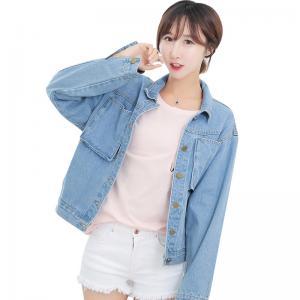Quality Metal Button Light Wash Ladies Jean Denim Jacket , Girls Short Denim Jacket for sale
