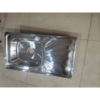 Buy cheap Morocco hot sale polish single bowl with drainboard stainless steel kitchen sink from wholesalers