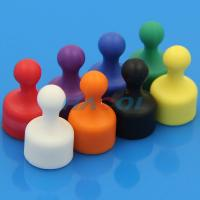 Quality Neodymium colorful office plastic coated magnet push pin for sale