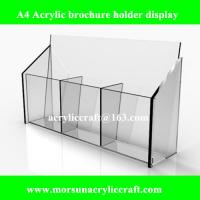 A4 Acrylic Brochure Display Rack, Clear Counter Standing Brochure Holder Made In China