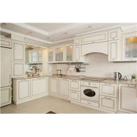 China Russia maple solid wood kitchen cabinet with glass door on sale
