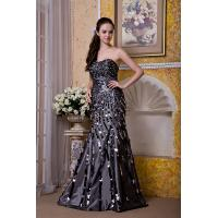 Quality Luxurious Silver Strapless Mermaid Taffeta Sweep Train Evening Party Gowns With Sequins for sale