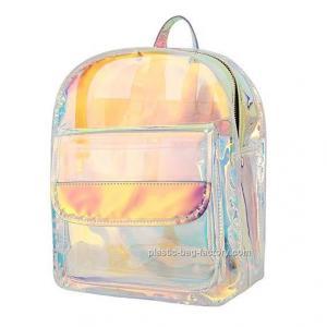Non - Toxic PVC Cosmetic Bag , Young Lady Shiny Hologram Transparent Shoulder Bag