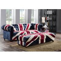 China Velvet Union Jack Three Seater Leather Sofa Hand Work Craft Fabric Buttons on sale