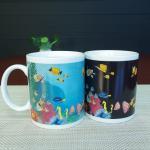 Quality Blue Patch Ocean Custom Magic Mug With AB Grade White Ceramic for sale