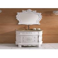 China Single Door White Classic Bathroom Cabinets Wooden Floor Standing Vanity Units Freestanding on sale