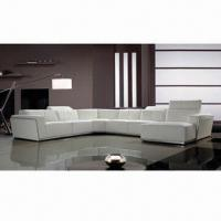 Quality Leather Sofa with Solid Wooden Internal Frame and High-density Foam for Cushions for sale
