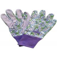 Quality Purple Printed Working Hands Gloves Polar PVC Dots For Women Gardening for sale