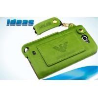 Buy cheap Durable Sewing PU Flip Samsung Galaxy Leather Cases Green Unique from wholesalers