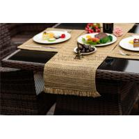 100% pp raffia,microfiber,Light brown,green,white,Rectangle,Silver Christmas Holiday Table Runner