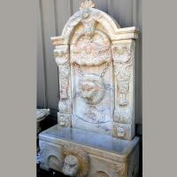 Quality Outdoor Water Feature Large Marble Stone Carved Wall Garden Fountain With Lion Head Decoration for sale