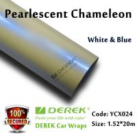 Quality Satin Pearl White Car Wrapping Vinyl Film - White & Blue Color Changing for sale