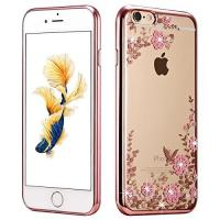 China Rose Gold TPU Apple Cell Phone Cases Plating Clear Shiny Rhinestone For IPhone 7 on sale