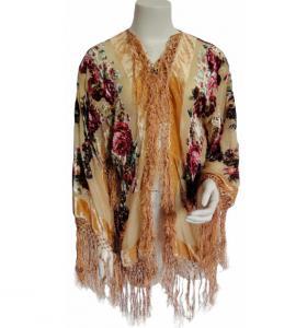 China Custom Burnout velvet short jacket with beading and fringes for lady on sale