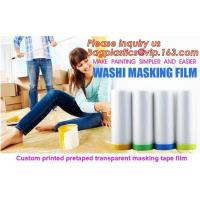 Quality HDPE Masking Film,Indoor Application Pretaped Drop Cloths,masking film,pre-taped cover car painting protection film hous for sale