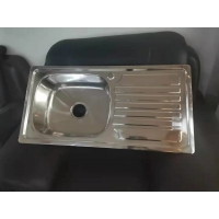 Quality polish kitchen sink stainless steel sanitaryware 90*45CM single bowl with single drain for sale