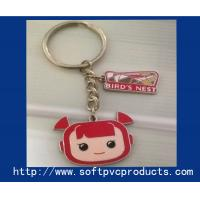 Quality Customised Beautiful Girl Metal Ring Soft PVC Keychain / Cute Key Chain Rings for sale