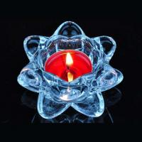 Quality Blue transparent crystal lotus glass candle holder supplier for sale
