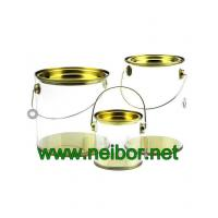 Quality Clear Cylindrical PVC PET bucket plastic pail with tin lid and bottom paint can bucket for sale