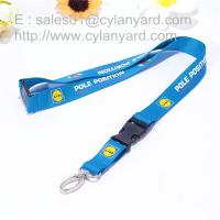 Best Logo imprinted polyester lanyard with metal clip and plastic buckle release, wholesale