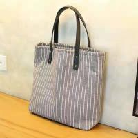 Quality Striped Organic Cotton Canvas Tote Bag Fashion With Leather Handle for sale