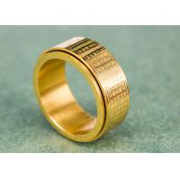 Quality 10mm Heart Sutra Buddhist Jewelry Rings Scripture Engraved IP Plating for sale