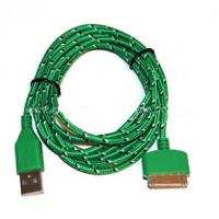 Quality Durable 30 Pin To USB Micro Usb Sync Cable 3ft Covered With Green Nylon for sale