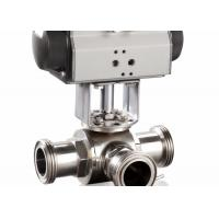 China 4 Sanitary 3 Way Ball Valve , T - Port Tri - Clamp Pneumatic Ball Valve on sale