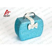 Best Customized Blue Glitter Organized Makeup Case With White Bow wholesale