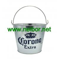 Quality Galvanized steel 5QT ice bucket with handle for Corona beer for sale