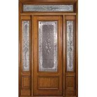 Quality Prehung Exterior Wood Door With 2 Sidelites for sale
