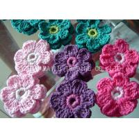 China Colorful Crochet Accessories , 6 Petals Knitted Crochet Flower Appliques on sale