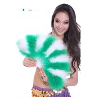 China Peacock Feather Belly Dancing Fans For Dance Competition Green + White Color on sale