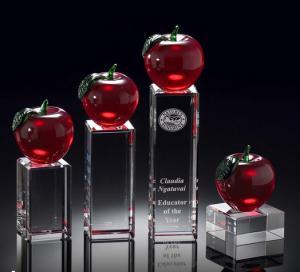 China educators merit crystal apple award/crystal red apple on rectangle base award on sale