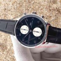 Quality ZF Factory Upgraded IWC Portuguese Automatic Watch - Black Leather Straps for sale