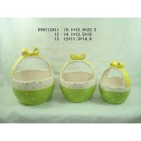 Buy Eco Friendly Green Garden Ceramic Pots / Basket Plant Pot With Handle 12 X 11.3 X 14 Cm at wholesale prices