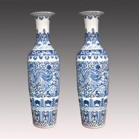 China Most popular ceramic vase blue-and-white large ceramic vase on sale
