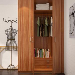 Best Bedroom Three Door Wood Color Wardrobe With Shelves / Hinges / Clothes Hanger wholesale