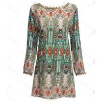 Buy Ethnic Style Round Collar Tribal Print Tassel Women polyester Dress at wholesale prices