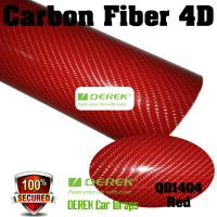 Quality 4D Glossy & Shiney Carbon Fiber Vinyl Wrapping Films--Red for sale